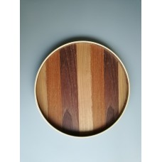 Round tray with mixed wood